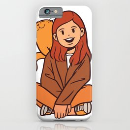 Cat and Girl iPhone Case