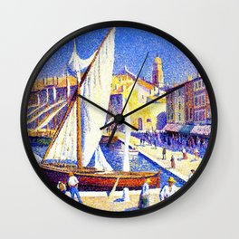 Port of Saint-Tropez, Cote d'Azur French Riviera by Maximillion Luce Wall Clock