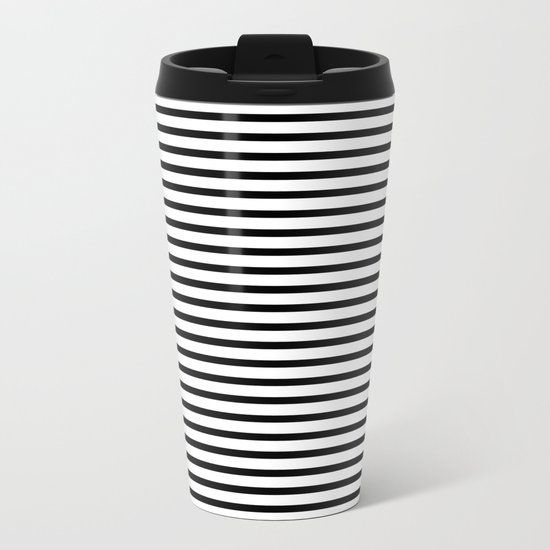 White Black Stripe Minimalist Metal Travel Mug