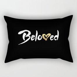 Beloved - White & Gold Rectangular Pillow