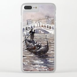 Rialto Bridge and gondolas in medieval city of Venice, Italy.  Watercolor painting of Venice. Clear iPhone Case