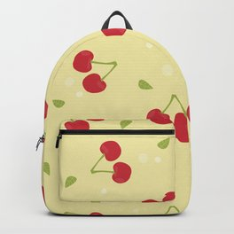 Red cherries in a yellow background Backpack