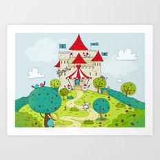 Queen of Hearts castle Art Print