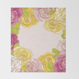 Yellow and pink roses. Spring mood. Throw Blanket