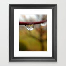 Tree Reflected in a Raindrop Framed Art Print
