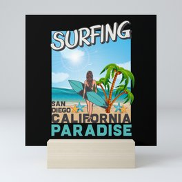 Surfing San Diego California Paradise Mini Art Print