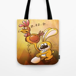 Easter Bunny Stealing an Egg from a Hen Tote Bag