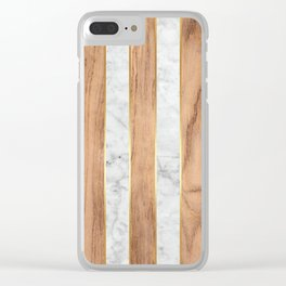 Wood Grain Stripes - White Marble #497 Clear iPhone Case