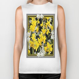 Black-Grey Art Design Yellow-White Daffodils Biker Tank
