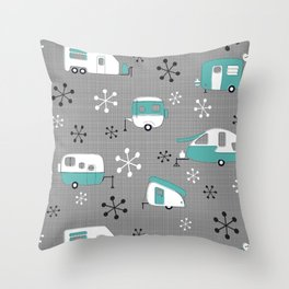 Aqua Campers on charcoal Throw Pillow