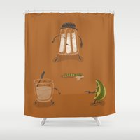 mexican Shower Curtains featuring Mexican Standoff by Lorenzo Cestaro
