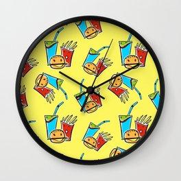 Fun Fast Food (seamless pattern in yellow) Wall Clock