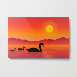 Silhouettes of Swans at Sunset Metal Print