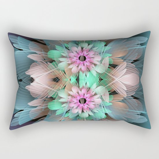 Soft coloured Twin Flowers Rectangular Pillow