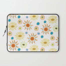 mid century retro sun solar 60's pattern Laptop Sleeve