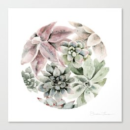 Circular Succulent Watercolor Canvas Print