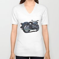 bmw V-neck T-shirts featuring BMW R50 MOTORCYCLE by Ernie Young