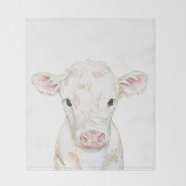 Baby White Cow Calf Watercolor Farm Animal Throw Blanket