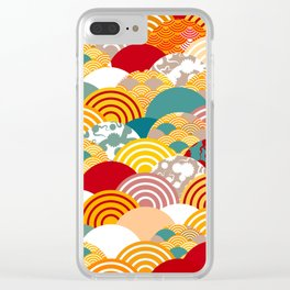 Nature background with japanese sakura flower, orange red pink Cherry, wave circle pattern Clear iPhone Case