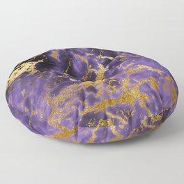 Ultra Violet Gold Marble Metallic Foil Floor Pillow