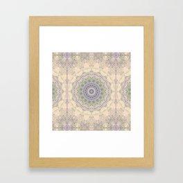 32 Wisteria Pine Loop -- Vintage Cream and Lavender Purple Mandala  Framed Art Print