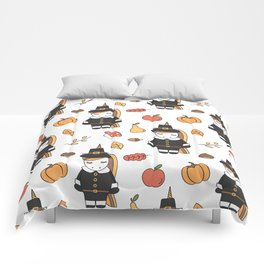 cartoon thanksgiving pattern with pilgrim unicorns, pumpkins, apples, pears, leaves and acorns Comforters