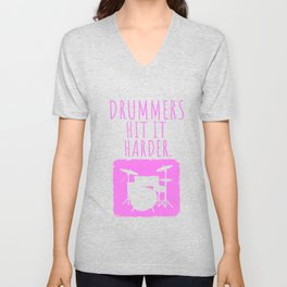 Womens Drummers Hit It Harder Drumming Gift Print Drummer Print Unisex V-Neck