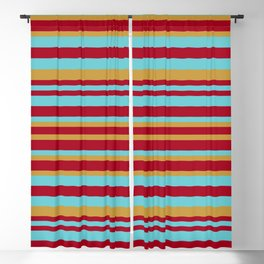 Golden, Red Wine and Turquoise Vintage Stripes Blackout Curtain