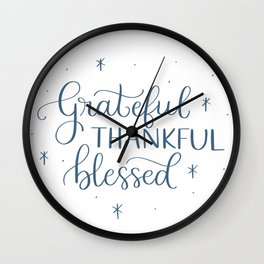 Grateful Thankful Blessed Wall Clock