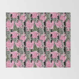Gentle roses on a lace background. Throw Blanket