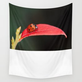 Ladybug On An Autumn Leaf Wall Tapestry
