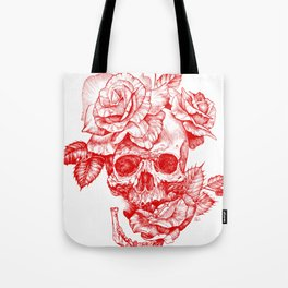 Roses and Human Skull - Red Tote Bag