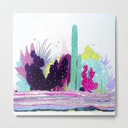 Cacti Watercolour Allsorts Metal Print