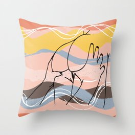The Waves Of Sex, Erotic Lovers Art, Minimalist Sex Illustration, Modern Sex Pose Line Drawing Throw Pillow