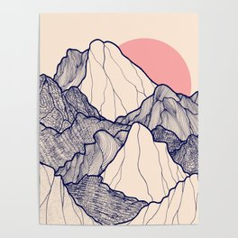 The calm morning mountains Poster