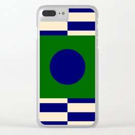 GEOMETRY BLUE&GREEN V Clear iPhone Case