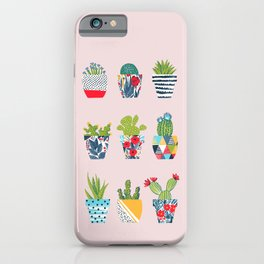Funny cacti illustration iPhone Case