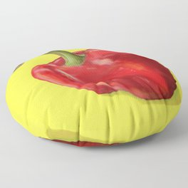 Red Paprika on Yellow Floor Pillow