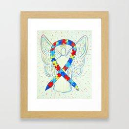 Autism Puzzle Piece Awareness Ribbon Angel Art Painting Framed Art Print