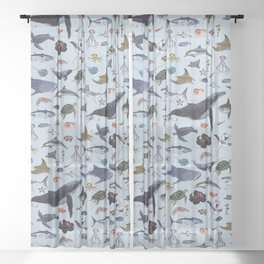 SEA CREATURES poster with names Sheer Curtain
