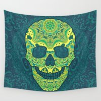 sugar skull Wall Tapestries featuring Sugar skull by Julia Badeeva