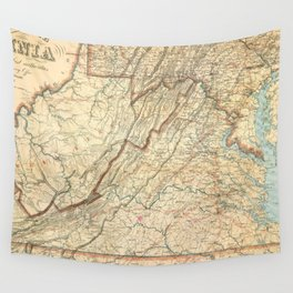 Vintage Map of Virginia (1863) Wall Tapestry