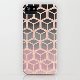 mauve ombre with rose gold hexagons iPhone Case