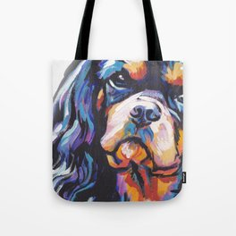 black and tan Cavalier King Charles Spaniel Dog Portrait Pop Art painting by Lea Tote Bag