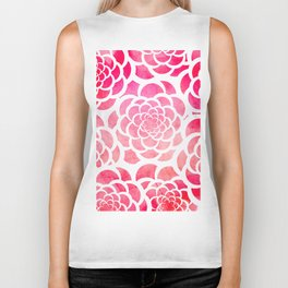 Girly hot pink watercolor abstract floral pattern  Biker Tank