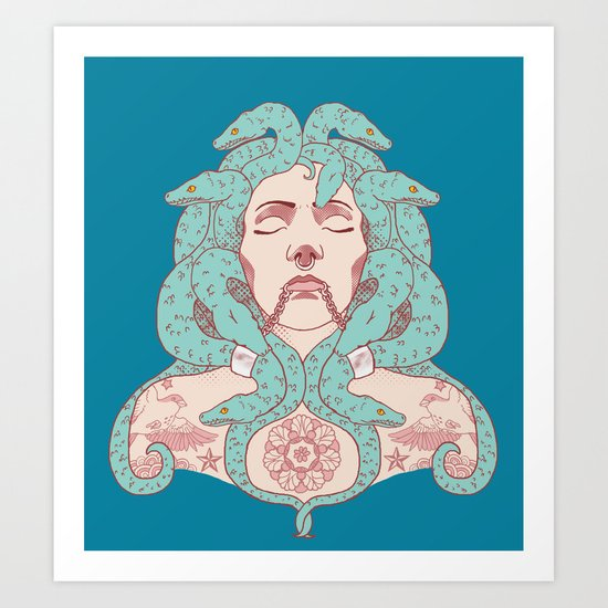 Tattooed Medusa Art Print