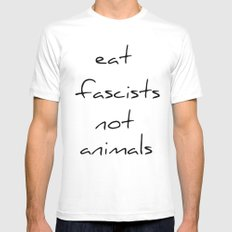 eat fascists not animals MEDIUM Mens Fitted Tee White