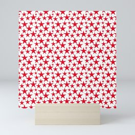 Red stars on white background illustration Mini Art Print