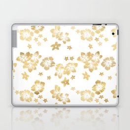 Gold Tropical Flowers Laptop & iPad Skin