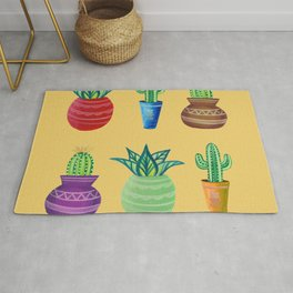 Colorful bright gouache cacti in ceramic pots painting Rug